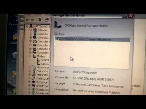 modem analogico 56kb 5600bps data\fax\voice in funzione senza linea su windows xp