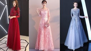 Evening Dresses Long | Wine Red | Long Sleeves Prom Dresses 2019
