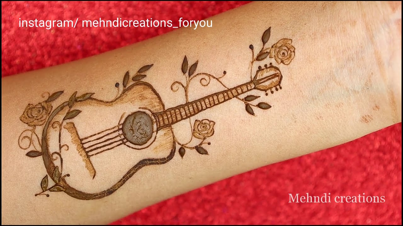 simple tattoo mehndi design guitar by mehndi creations