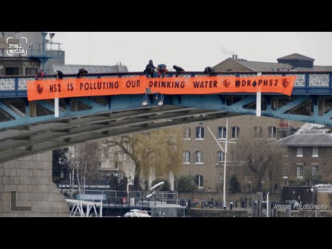 Nationwide banner drops protesting against HS2