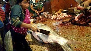 Big Catla Fish Scaling By Woman & Fish Cutting By Popular Fishmonger Of Fish Market Dhaka