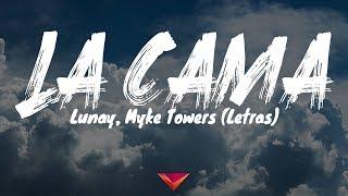 "Video thumbnail of ""Lunay, Myke Towers - La Cama (Letras)"""