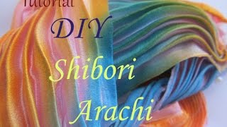 Шовкова стрічка Сіборі в техніці Арасі/Техника шибори/DIY Silk Arashi Shibori