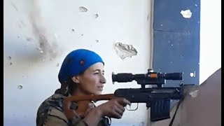 YPJ Syrian Sniper Nearly Head-shot, Laughs It Off.