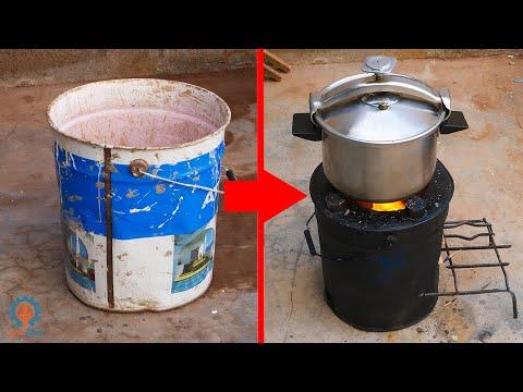 اصنع موقد حطب للطبخ من برميل حديد قديم ! Take advantage of old iron barrels to make wood stoves