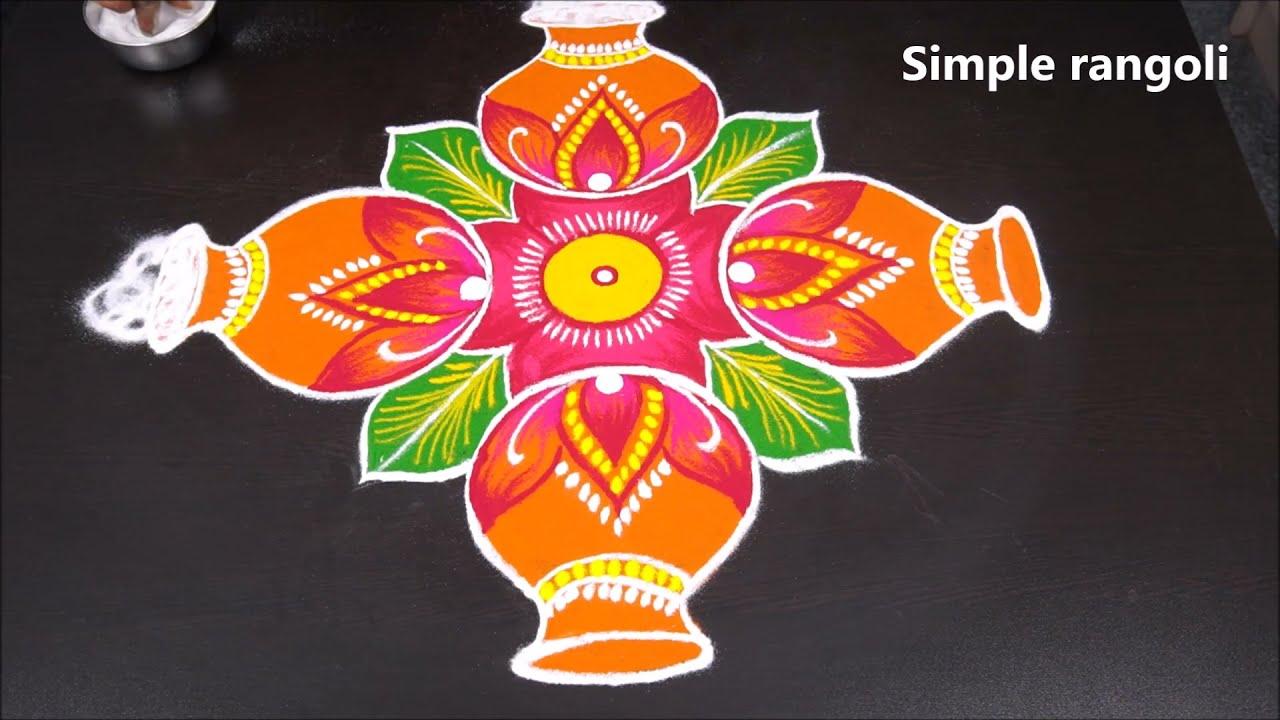 simple rangoli design for pongal
