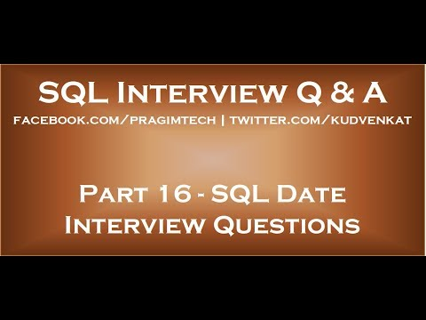 Sql date interview questions