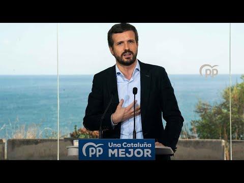 Pablo Casado y Alejandro Fernández intervienen en un acto de campaña con alcaldes #UnaCataluñaMejor