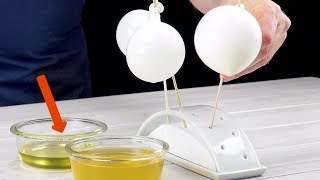 Dunk Balloons In Oil And Gelatin & Use Tweezers To Do The Rest – It Will Be Amazing!