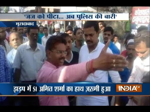 BJP leader misbehaves with cop inside police station in Moradabad