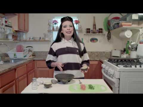 La Tiny demonstrates her guacamole for Super Bowl LI Sunday