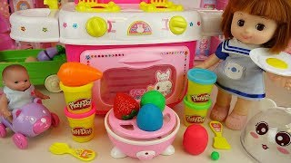 Baby doll and Play Doh surprise egg cooking toys kitchen play