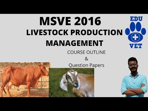 MSVE 2016-Livestock Production Management-Course Outline