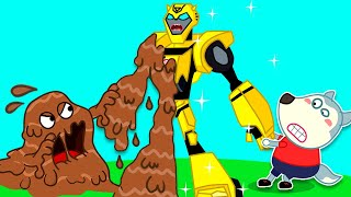 Wolf family | Wolfoo Saves Bumblebee Transformers Robot from Monster Mud