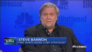 Steve Bannon takes the stage at Delivering Alpha