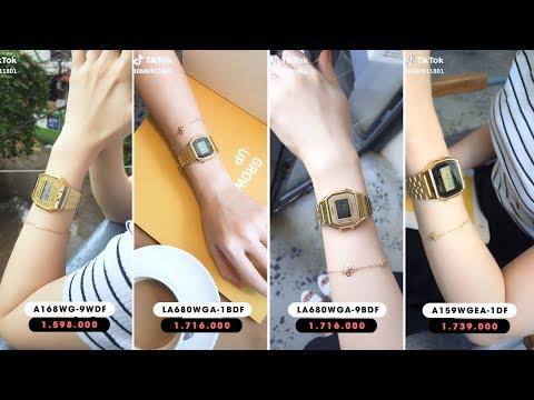 [Review Tik tok] - Top 4 đồng hồ Casio nữ mặt vuông dây kim loại vàng giá rẻ