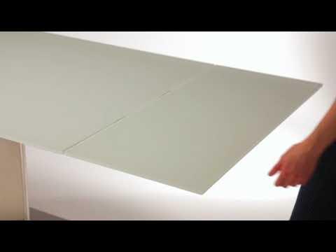 21714 Esstisch ausziehbar 180 - 260 cm Super White Glas / Edelstahl / Froschkönig24