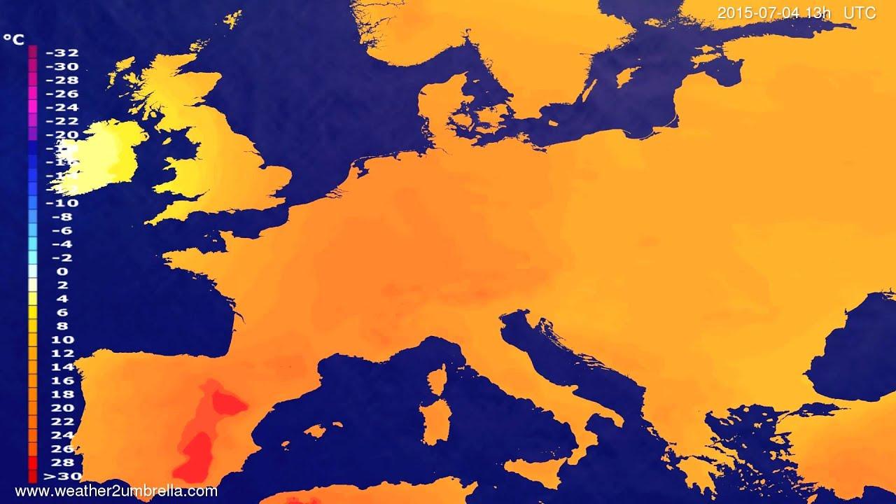 Temperature forecast Europe 2015-06-30