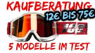 Kaufberatung MTB Goggle Brille | 100% Strata Accuri Leat Velocity 5.5 LRG oder Amazon | 12€ bis 75€
