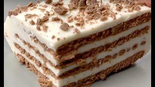Торт без выпечки из печенья!!