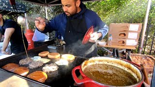 French Style Burgers with Blue Cheese and Bourguignon Sauce. London Street Food
