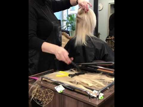Микроленточное наращивание волос в процессе