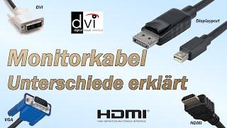 Unterschiede - Monitorkabel (VGA, DVI, HDMI, DP)