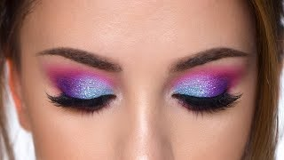 Colorful Glitter Smokey Eye Makeup Tutorial   Purple , Teal And Pink