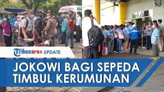 VIRAL Foto Kerumunan saat Jokowi Bagi-bagi Sepeda di Tanjung Priok, Ini Penjelasan Istana