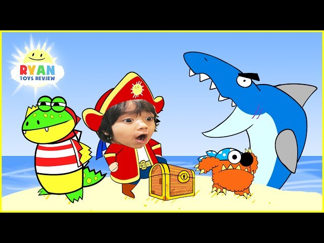 RYAN PIRATE ADVENTURE CARTOON for children! Treasure Hunt with Shark Animation for Kids