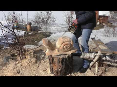 Улитка из дерева своими руками, Улитка бензопилой для сада и дачи, Фигурки своими руками