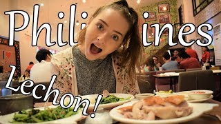 BRITISH GIRL FIRST TIME EATING LECHON! CEBU LECHON IN MANILA?!