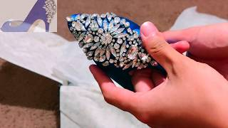 BADGLEY MISCHKA Nilla Peep Toe Pump Wedding Shoes Unboxing (blue)