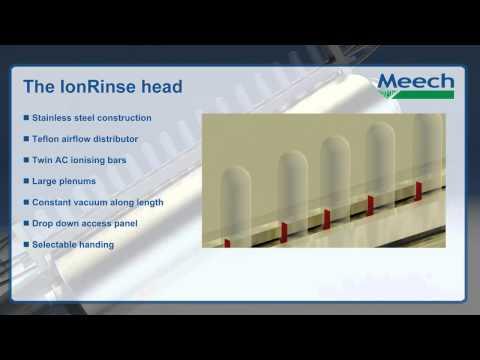 Video of IonRinse air rinsing. Used in food and beverage packaging industry.