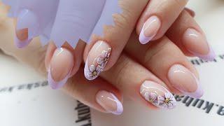 Рисованный френч  Рисуем френч косой кистью  Мазковые цветы  Летний дизайн ногтей