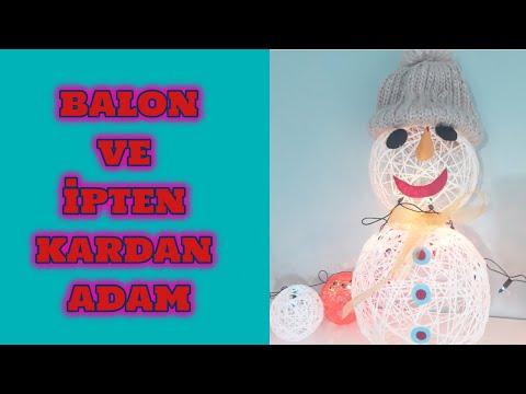 Balon Ipten Kardan Adam Yapımı Diy Kardan Adam Abajur Berilin