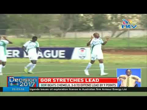 Gor beats Chemelil 3-0 to extend lead by 9 points