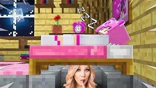 I Spent 24 Hours in Leah Ashe's Minecraft House! *she had no idea*