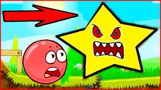 ОГРОМНЫЕ ЗВЕЗДЫ в  игре красный шарик  для детей про New Red Ball 4