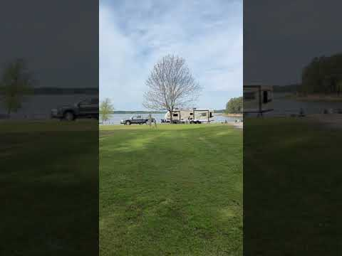 Video of walking toward campsites near the lake, 50s and higher