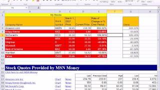 Excel 2010 Business Math 35: Stock Value Percentage Change & Web Query For Current Stock Values