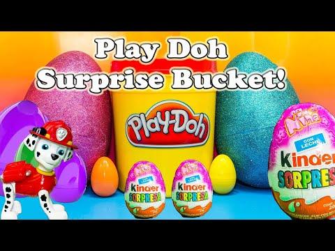 PLAY DOH SURPRISE BUCKET Giant Surprise Eggs  Surprise Bucket Surprise Toys Video