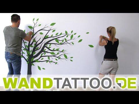 Wandtattoo Baum im Wind - Anleitung zum Anbringen