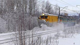 Тепловоз 2М62-0420 со снегоочистителем СДПМ-2555, станция Ручьи.