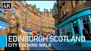 [4K] Edinburgh, Scotland. Evening Walking Tour Of Edinburgh City Centre.