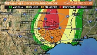 Risk of severe weather predicted for Wednesday