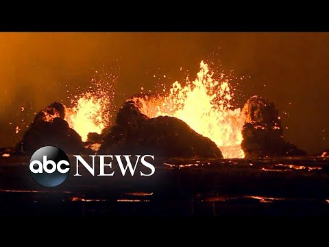 In Hawaii, 'laze' being created by steady flow of lava entering the ocean