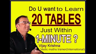 20 TABLES|How to learn tables easily|Speed Tables|Vedic Maths|Maths Tricks|speed maths|fast maths