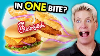 Eat In One Bite Challenge - Chick Fil-A | People vs. Food