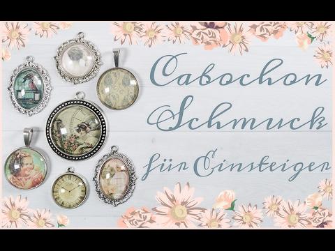 DIY Schmuck selber machen Ohrstecker mit Cabochons von Vintageparts